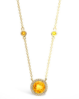 Kiki McDonough Grace Citrine & Diamond Pendant Necklace