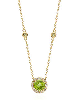 Kiki McDonough Grace Green Peridot & Diamond Necklace