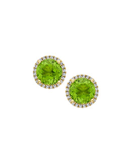 Kiki McDonough Grace Green Peridot & Diamond Stud Earrings