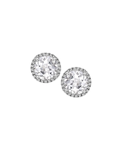 Grace White Topaz & Diamond Stud Earrings