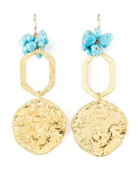 Turquoise Bead Disc Earrings