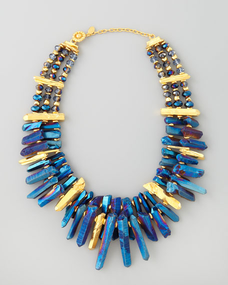 Iridescent Rock Crystal Necklace, Blue