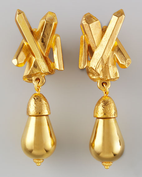 Gold-Plated Crystal-Spike Clip Earrings