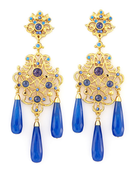 Jade-Drop Chandelier Clip Earrings, Blue