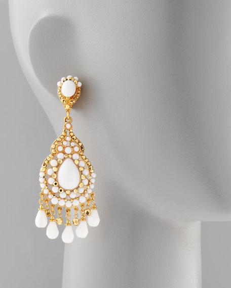 Beaded Chandelier Clip Earrings, White