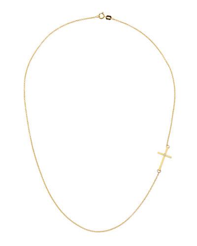Mizuki 14k Cross Necklace with Single Diamond