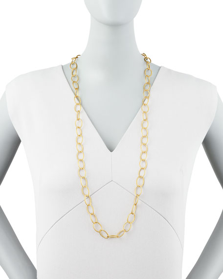 Long Hand-Hammered Gold Plate Necklace