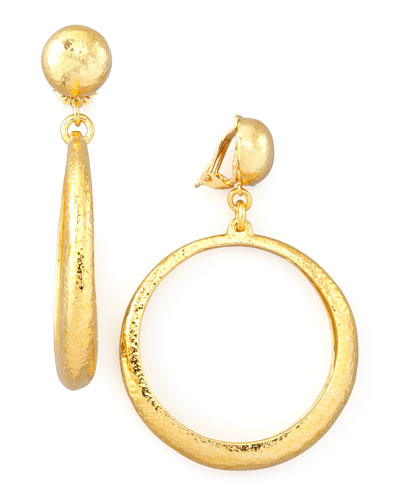 Jose & Maria Barrera Hammered Hoop Drop Clip Earrings