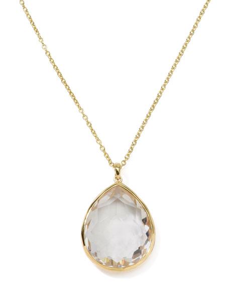 Rock Candy 18k Gold Large Teardrop Pendant Necklace, Clear Quartz