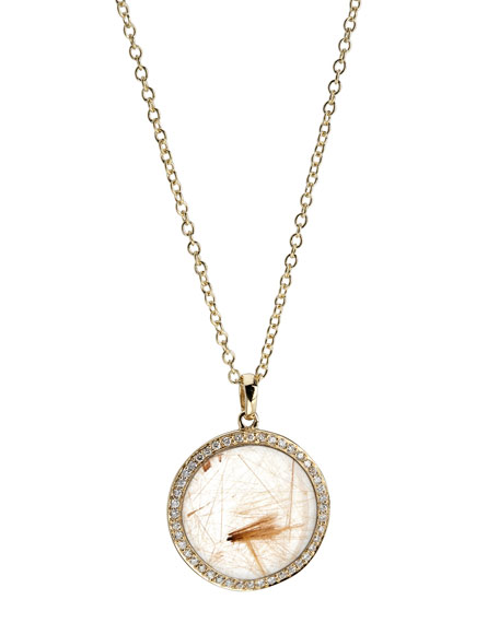 Rock Candy 18k Gold Mini Lollipop Diamond Necklace, Rutilated Quartz
