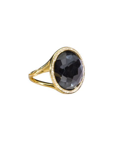 Rock Candy 18k Gold Mini Lollipop Diamond Ring, Hematite