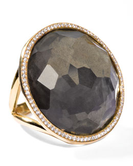 Ippolita Rock Candy 18k Gold Large Lollipop Diamond Ring, Pyrite