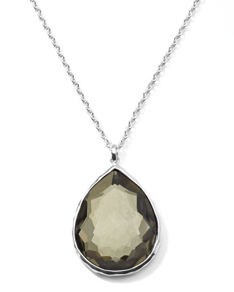 Wonderland Silver Large Teardrop Pendant Necklace, Pyrite