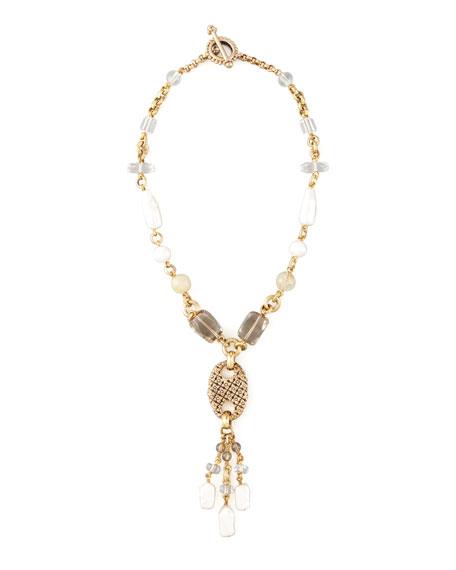 Pearl & Quartz Y-Drop Necklace