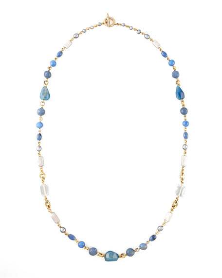"""Blue Mixed-Stone Necklace, 42""""L"""
