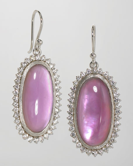 Anna Sapphire-Trim Berry Oval Drop Earrings