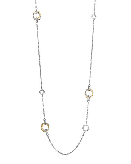 Bamboo Gold & Silver Station Necklace