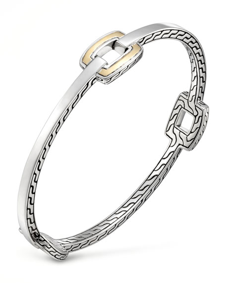 Classic Chain Gold-Station Silver Bangle