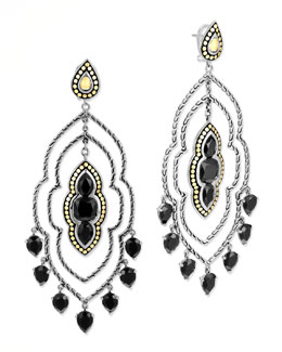 John Hardy Batu Dot Morocco Chandelier Earrings, Black Onyx