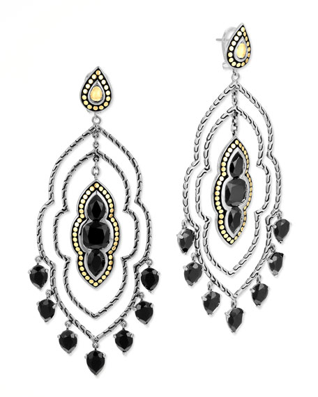 Batu Dot Morocco Chandelier Earrings, Black Onyx