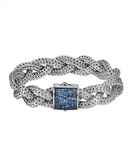 John Hardy Classic Chain Medium Braided Silver Bracelet, Blue Sapphire