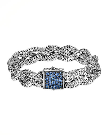 Classic Chain Medium Braided Silver Bracelet, Blue Sapphire