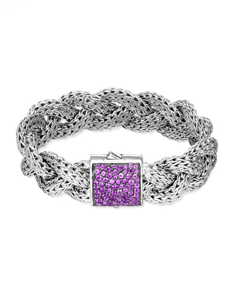 Classic Chain Large Braided Silver Bracelet, Amethyst