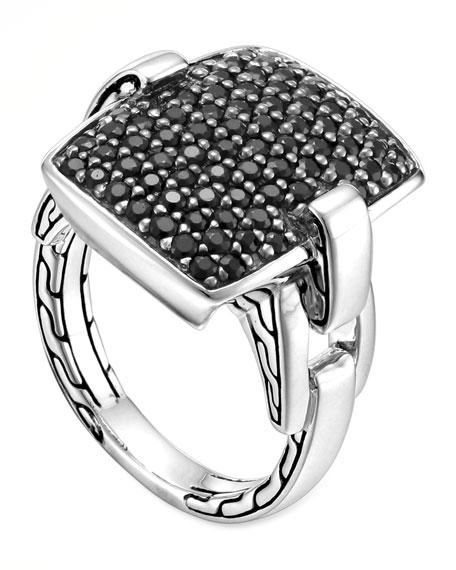 Classic Chain Silver Lava Black Sapphire Ring