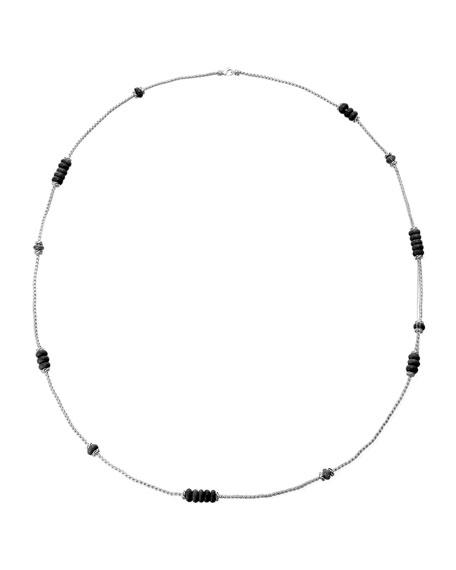 Bedeg Batu Black Agate & Sapphire Long Necklace