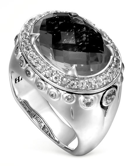 Bamboo Batu Silver Black Onyx Dome Ring