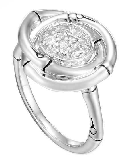 Bamboo Twisted White Sapphire Ring