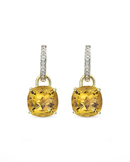Kiki McDonough Eternal 18k Gold Citrine Diamond Earrings