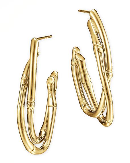 18k Gold Interlocking Bamboo Hoop Earrings, Medium