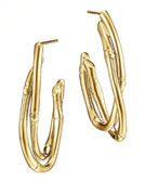 John Hardy 18k Gold Interlocking Bamboo Hoop Earrings, Medium