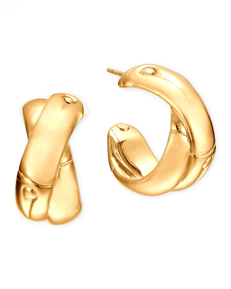 18k Gold Bamboo J-Hoop Earrings