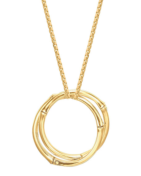 Bamboo 18k Gold Large Round Interlocking Pendant Necklace