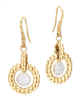John Hardy 18k Bedeg Gold Diamond Drop Earrings