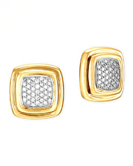John Hardy 18k Bedeg Gold Diamond Stud Earrings