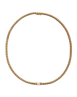 John Hardy Classic Chain 18k Gold Diamond Necklace