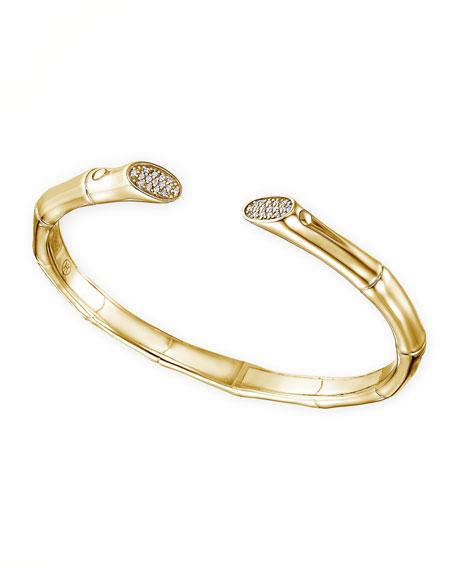 Bamboo Pave Diamond 18k Gold Bracelet