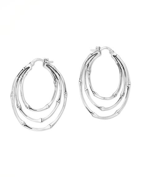 Bamboo Silver Small Orbital Hoop Earrings