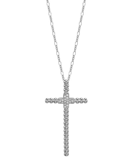 Bedeg Silver Pave Diamond Cross Pendant Necklace