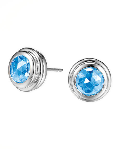 Batu Bedeg Swiss Blue Topaz Stud Earrings