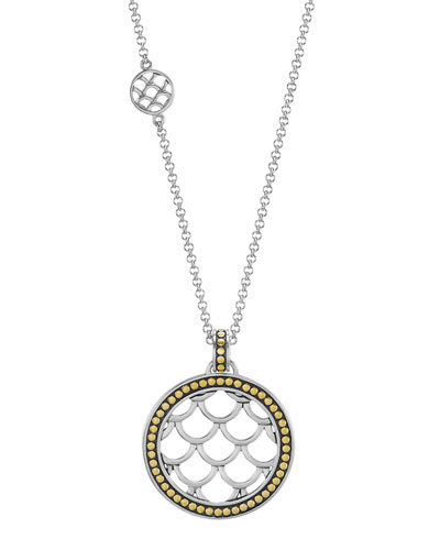 John Hardy Naga Gold & Silver Round Drop Pendant Necklace