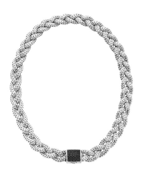 Classic Chain Silver with Black Sapphire Lava Medium Braided Necklace