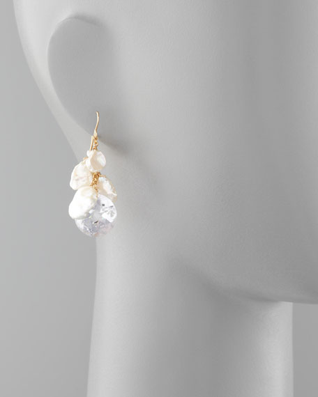 Keshi Pearl & Cubic Zirconia Drop Earrings