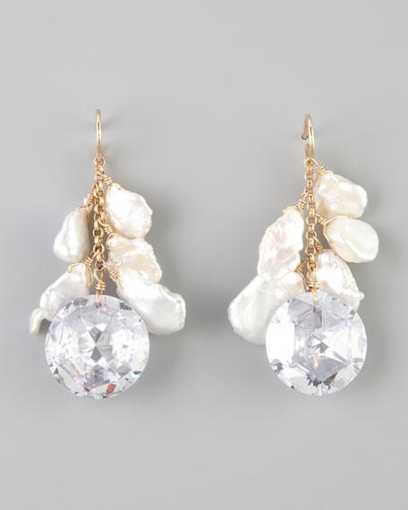 Keshi Pearl & Cubic Zirconia Drop Earrings