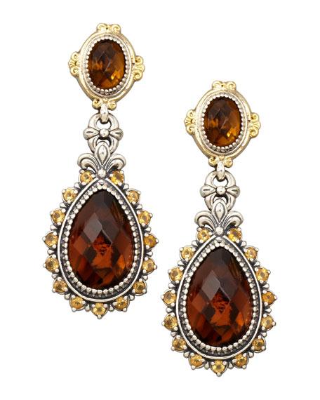 Ilios Faceted Cognac Topaz Drop Post Earrings
