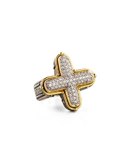 Konstantino Classic Diamond Pave Cross Ring