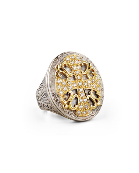 Konstantino Classic Diamond Pave Large Oval Cross Ring
